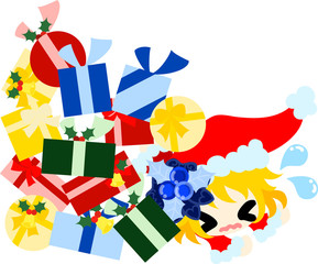 The cute illustration of Christmas and a girl -Heap of presents-