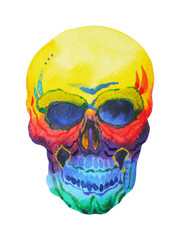 sugar skull day of the dead human head watercolor painting design