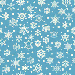 Seamless winter pattern with snowflakes. Vector  white snowflakes on blue background.