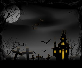 Halloween night with creepy cemetery background