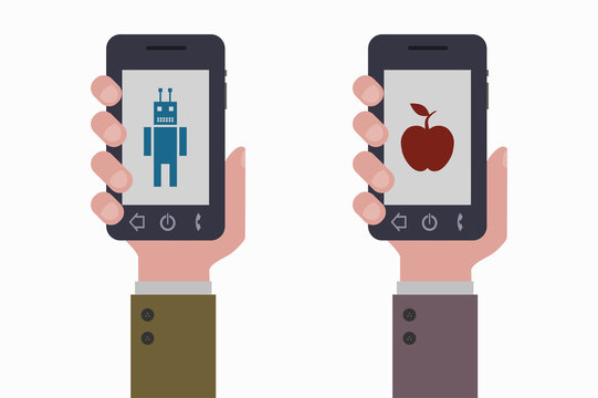 smartphone and two operating systems