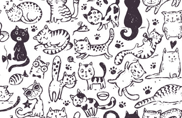 Vector seamless pattern with hand draw funny cats in sketch style