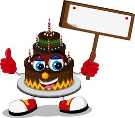 Big cartoon birthday cake thumb up holding blank sign