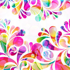 Abstract colorful paisley arc-drop pattern on a white background