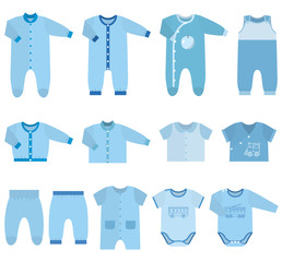 Set children's clothes for baby boys in flat style. Collection of isolated clothing on white background. Vector illustration.