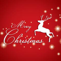 Merry Christmas and Reindeer with white star on red background.