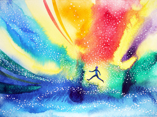 man running, flying in the colorful universe, watercolor painting