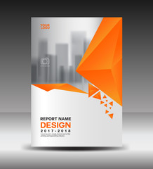 Cover design Annual report vector illustration, business brochure flyer template, book cover, orange cover, advertisement template