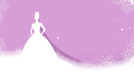 wedding card with bride silhouette background