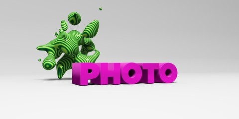 PHOTO -  color type on white studiobackground with design element - 3D rendered royalty free stock picture. This image can be used for an online website banner ad or a print postcard.