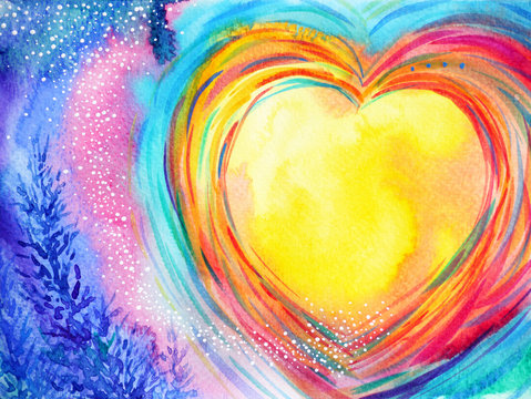 yellow moon heart watercolor painting illustration design valentines day