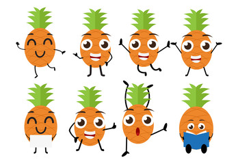 set of funny pineapple fruit character cartoon