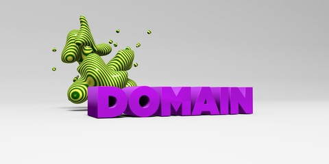 DOMAIN -  color type on white studiobackground with design element - 3D rendered royalty free stock picture. This image can be used for an online website banner ad or a print postcard.