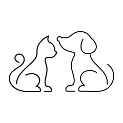 Black vector cat and dog icons