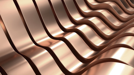Rose Gold Wave Metal Abstract Background 3D Rendering