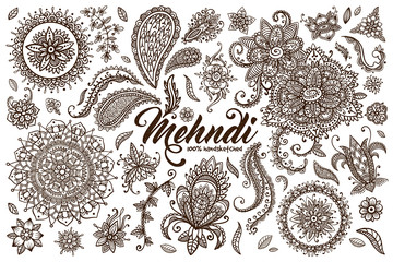 Hand drawn set of mehndi design templates