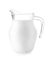 Glass jug of milk