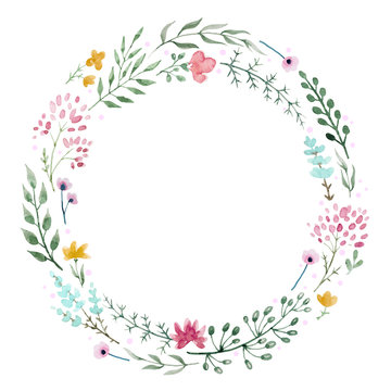Hand drawn watercolor wreath