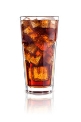 cola with ice in a glass isolated on white background. design el