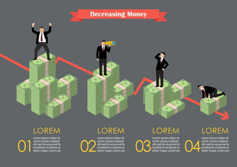 Decreasing cash money with businessmen in various activity infog