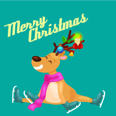 Christmas reindeer with horns and scarf skates on ice fun and happily spending time on the eve of New Year holiday, winter christmas animal deer vector illustration