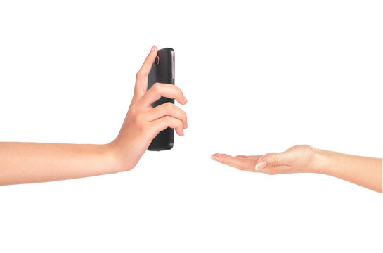 Hand gives a phone in hand on white background