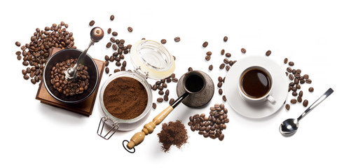 Wall Murals Cafe coffee attributes on a white background