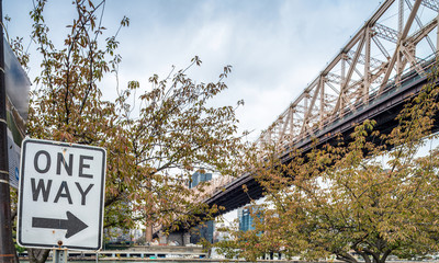 Queensboro Bridge in New York City with street sign