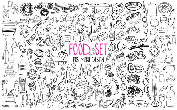Hand drawn food elements. Set for menu decoration. Cartoon. Simple stylized forms.