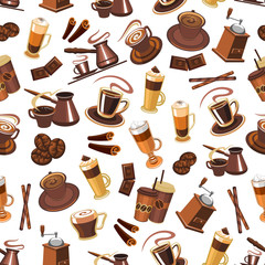 Coffee seamless pattern with beans, cups, mills