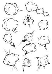 Puffing, exploding, steaming cloud cartoon icons