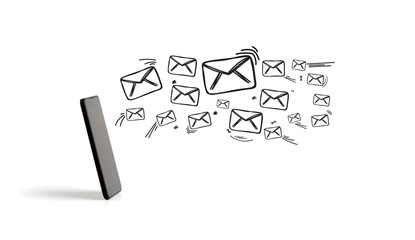 Email icons going out a smartphone