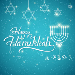 Happy Hanukkah greeting lettering