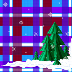 Christmas trees on the background of the red, blue, white cell. Geometric pattern, imitation Scottish tartan fabric. Vector illustration.
