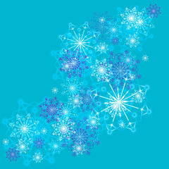 Vector pattern beautiful festive snowflakes on a blue background. Greeting card.