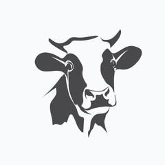 holstein cow portrait stylized vector symbol