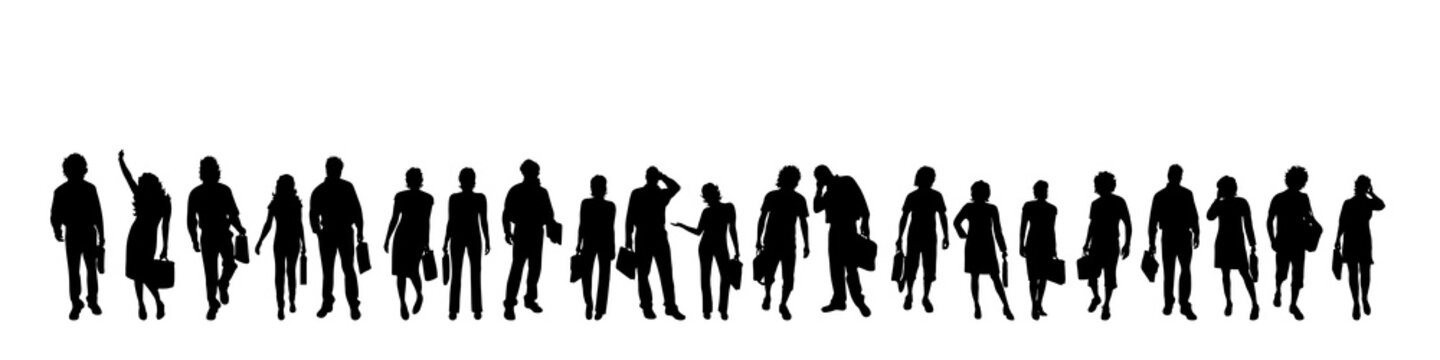Vector silhouette of businesspeople.