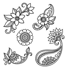 Henna tattoo flower template. Mehndi style. Set of ornamental patterns in the oriental style.