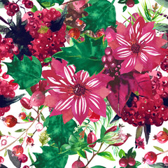 Christmas botanical watercolor pattern