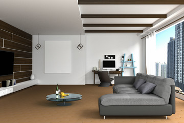 3D Rendering : illustration of Living room interior design with dark sofa.blank picture frames.shelves and white walls.work space at background.view of city building outside the room