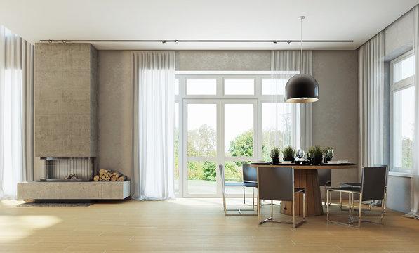 Современный интерьер столовой в частном доме 3d rendering
