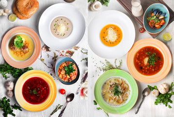 different soups, cream, soup, chicken, halophyte, Tom Yam, a two-page spread of the restaurant menu top view,