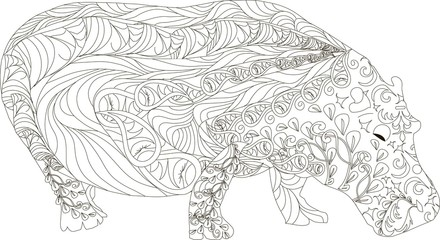 Hand drawn zentangle hippo, black and white anti stress vector illustration
