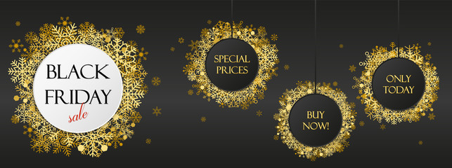 Black friday offers, black friday banner with golden snowflakes on dark background