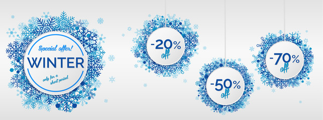 Winter sales with snowflakes on white background