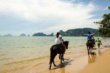 People riding on horses on the beach