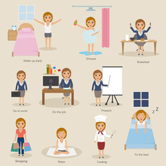 routine of businesss people and lifestyle.