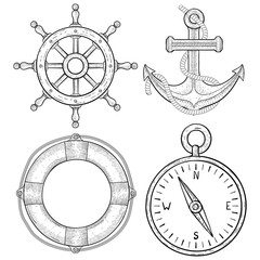 Nautical hand drawn symbols. Anchor, lifebuoy, compass, steering wheel