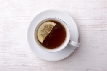 Black tea with lemon. Highest class tea.