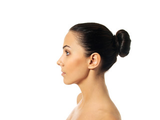 Side view of young woman face